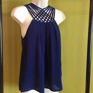 New Sweet Wanderer Navy Lattice Neckline Top